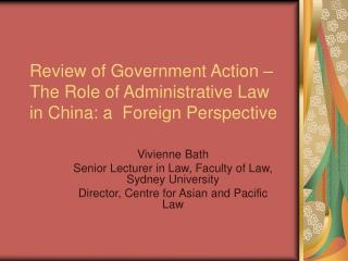 Review of Government Action – The Role of Administrative Law in China: a  Foreign Perspective