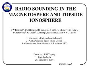 RADIO SOUNDING IN THE MAGNETOSPERE AND TOPSIDE IONOSPHERE