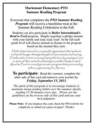 Mariemont Elementary PTO Summer Reading Program