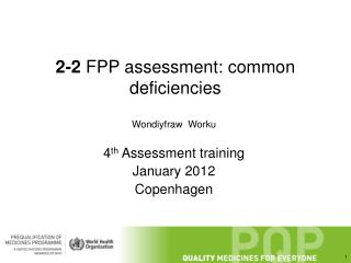 2-2  FPP assessment: common deficiencies