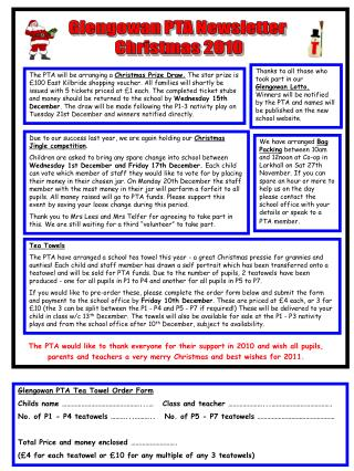 Glengowan PTA Newsletter  Christmas 2010