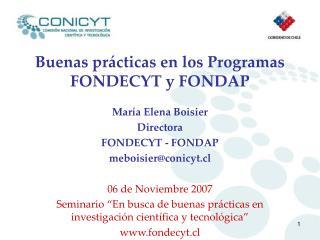 Buenas prácticas en los Programas FONDECYT y FONDAP
