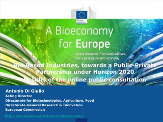 Bio- Based  Industries,  towards  a Public- Private Partnership under  Horizon 2020