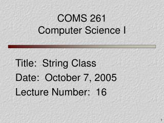 COMS 261 Computer Science I