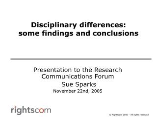 Disciplinary differences: some findings and conclusions