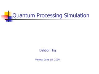 Quantum Processing Simulation