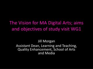 The Vision for MA Digital Arts; aims and objectives of study visit WG1