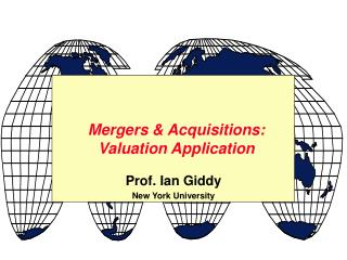 Mergers & Acquisitions: Valuation Application