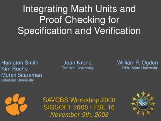 Integrating Math Units and Proof Checking for Specification and Verification