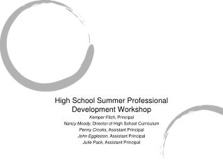 High School Summer Professional Development Workshop Kemper Fitch,  Principal
