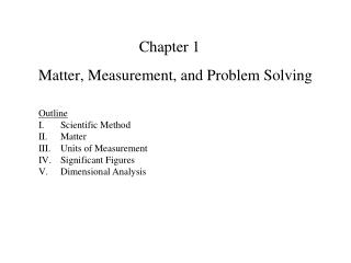 Matter, Measurement, and Problem Solving