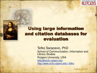 Using large information and citation databases for evaluation