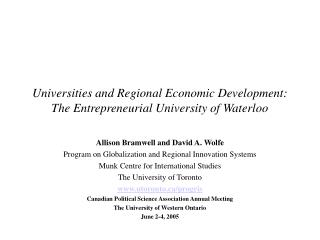 Universities and Regional Economic Development: The Entrepreneurial University of Waterloo