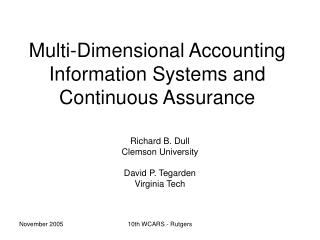 Multi-Dimensional Accounting Information Systems and Continuous Assurance
