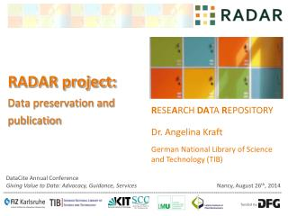 RADAR project: Data preservation and publication