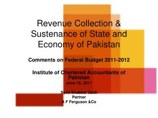 Revenue Collection &  Sustenance of State and Economy of Pakistan