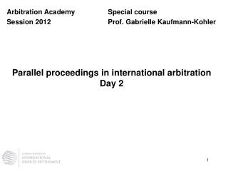 Parallel proceedings in international arbitration Day 2