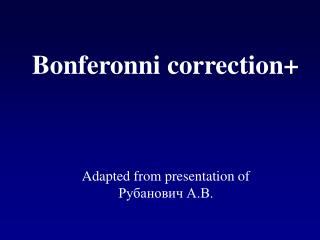 Bonferonni correction+