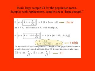 Basic large sample CI for the population mean.