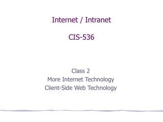 Internet / Intranet CIS-536