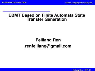 EBMT Based on Finite Automata State Transfer Generation
