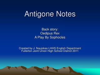 Antigone Notes