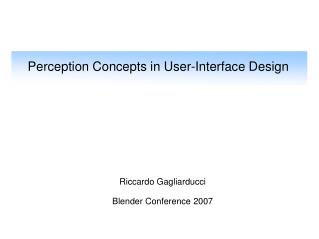 Perception Concepts in User-Interface Design