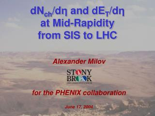 Alexander Milov for the PHENIX collaboration June 17, 2004