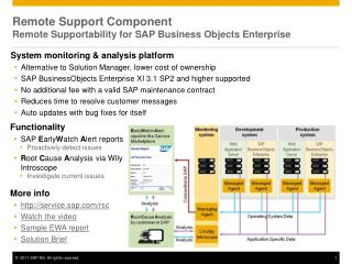 Remote Support Component Remote Supportability for SAP Business Objects Enterprise