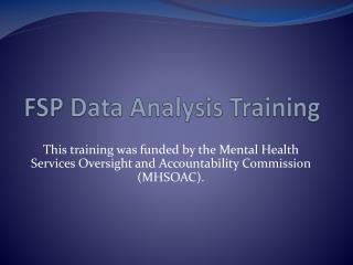 FSP Data Analysis Training