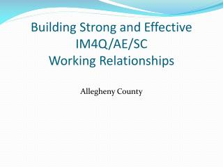 Building Strong and Effective IM4Q/AE/SC  Working Relationships