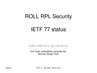ROLL RPL Security IETF 77 status