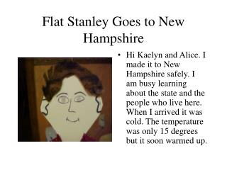 Flat Stanley Goes to New Hampshire