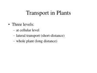 Transport in Plants