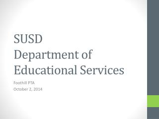 SUSD  Department of Educational Services