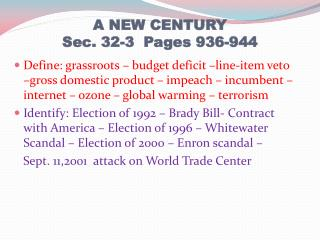 A NEW CENTURY Sec. 32-3  Pages 936-944
