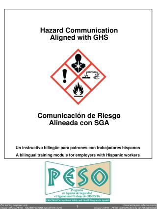 Hazard  Communication Aligned with GHS Comunicación de Riesgo Alineada con SGA
