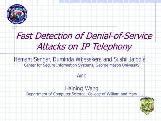 Fast Detection of Denial-of-Service Attacks on IP Telephony