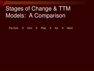 Stages of Change  TTM Models:  A Comparison