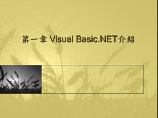 第一章  Visual Basic.NET 介紹