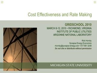 Cost Effectiveness and Rate Making