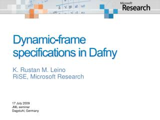 Dynamic-frame specifications in  Dafny