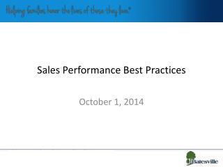 Sales Performance Best Practices