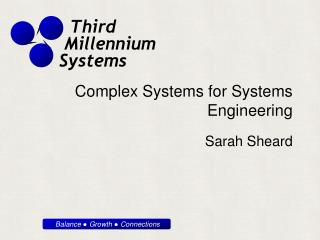 Complex Systems for Systems Engineering