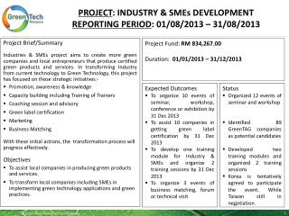 PROJECT :  INDUSTRY & SMEs DEVELOPMENT Reporting period :  01/08/2013  –  31/08/2013