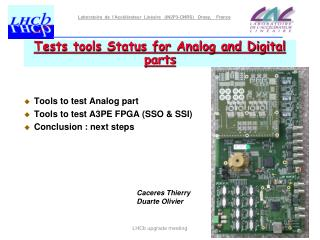 Tests tools Status for Analog and Digital parts