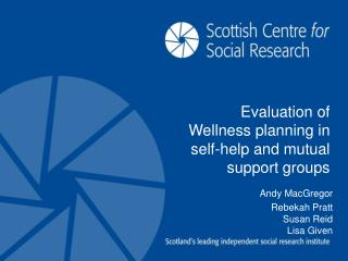 Evaluation of Wellness planning in self-help and mutual support groups