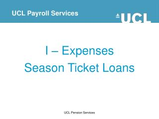 I – Expenses Season Ticket Loans