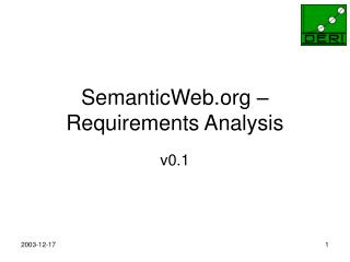 SemanticWeb – Requirements Analysis