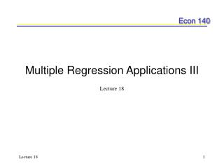 Multiple Regression Applications III